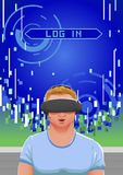 Vector el ejemplo del individuo sorprendente que experimenta el mundo virtual usando sombrero del vr Imagen de archivo libre de regalías