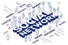 Vector el ejemplo del ingenio social de la red de la palabra tridimensional Foto de archivo