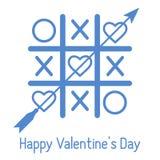 Vector el ejemplo del juego del tic-TAC-dedo del pie con los corazones y la flecha Tarjeta del día de San Valentín feliz \ 'día d ilustración del vector