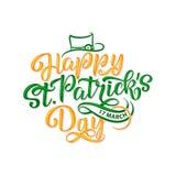 Vector el ejemplo del logotipo feliz del día de St Patrick s Diseño irlandés bosquejado mano de la celebración Festival de la cer Foto de archivo libre de regalías