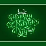 Vector el ejemplo del logotipo feliz del día de St Patrick s Diseño irlandés bosquejado mano de la celebración Festival de la cer Foto de archivo