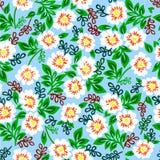 Vector el ejemplo del modelo colorido con las flores blancas en un fondo azul Imágenes de archivo libres de regalías