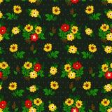 Vector el ejemplo del modelo de flores amarillo y rojo inconsútil Fotos de archivo libres de regalías