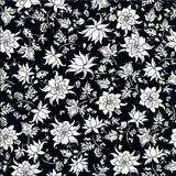 Vector el ejemplo del modelo de flores inconsútil en colores blancos y negros Foto de archivo