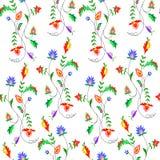 Vector el ejemplo del modelo de flores inconsútil de la fantasía en fondo ligero Foto de archivo libre de regalías