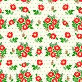 Vector el ejemplo del modelo de flores rojo inconsútil en fondo ligero Imagen de archivo libre de regalías