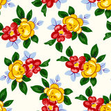 Vector el ejemplo del modelo de flores rojo y amarillo hermoso inconsútil Fotos de archivo