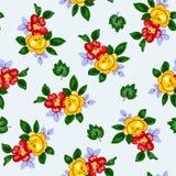 Vector el ejemplo del modelo de flores rojo y amarillo hermoso inconsútil Imagen de archivo