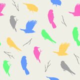 Vector el ejemplo del modelo en colores pastel ligero con los pájaros Fotografía de archivo