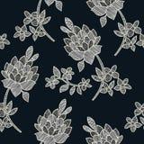 Vector el ejemplo del modelo inconsútil blanco y negro abstracto de las flores y de las hojas Fotos de archivo