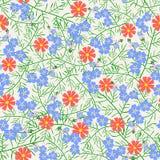 Vector el ejemplo del modelo inconsútil con las flores azules y rojas Foto de archivo libre de regalías