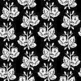 Vector el ejemplo del modelo inconsútil de las flores blancos y negros abstractas Imagen de archivo