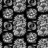 Vector el ejemplo del modelo inconsútil de las flores blancos y negros abstractas Imagen de archivo libre de regalías