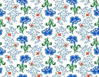 Vector el ejemplo del modelo inconsútil de las flores interesantes del azul Imágenes de archivo libres de regalías