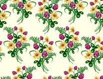 Vector el ejemplo del modelo inconsútil del ramo hecho de wildflowers Imagen de archivo libre de regalías