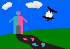 Vector el ejemplo del mundo del igual del género con la choza humana del medio azul y a medias del rosa y los pájaros de vuelo ne ilustración del vector