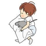 Vector el ejemplo del niño que duerme con la muñeca de la rata en cama stock de ilustración