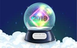 Vector el ejemplo del objeto realista de los chrismas del Año Nuevo de la bola del globo de la nieve Imagen de archivo