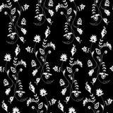 Vector el ejemplo del ornamento de la flor blanca en fondo negro Fotos de archivo