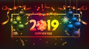 Vector el ejemplo del oro 2019 de la Feliz Año Nuevo y del lugar negro de los colores para las bolas de la Navidad del texto ilustración del vector