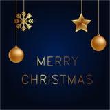 Vector el ejemplo del oro de la Feliz Navidad y ennegrezca el lugar azul de los collors para las bolas, las estrellas y el copo d Imágenes de archivo libres de regalías