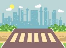 Vector el ejemplo del paisaje de la historieta del borde de la carretera con el camino, el camino, la acera y la travesía peatona Foto de archivo libre de regalías