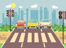 Vector el ejemplo del paisaje de la historieta del borde de la carretera con el camino, el camino, la acera y la zona peatonal va Imágenes de archivo libres de regalías