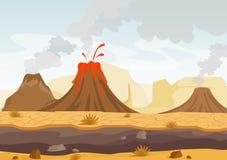 Vector el ejemplo del paisaje prehistórico con la erupción del volcán, de la lava y del cielo ahumado, paisaje con las montañas y ilustración del vector