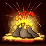 Vector el ejemplo del paisaje prehistórico con la erupción del volcán, la lava y el cielo ahumado stock de ilustración