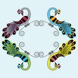 Vector el ejemplo del pavo real en 4 variaciones del color ilustración del vector