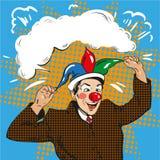 Vector el ejemplo del payaso del hombre de negocios en sombrero del bufón, arte pop ilustración del vector