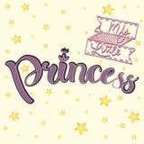 Vector el ejemplo del pequeño texto de la princesa para la ropa de las muchachas Insignia real, tarjeta, postal, etiqueta, icono  Imagen de archivo