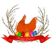 Vector el ejemplo del pollo, de los huevos de Pascua y del sauce de la primavera Imagenes de archivo
