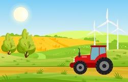 Vector el ejemplo del pueblo con los campos y el tractor que trabaja en tierra cultivada, los colores brillantes ajardina, cultiv libre illustration