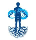 Vector el ejemplo del ser humano, del atleta fuerte con las ra?ces del ?rbol y del s?mbolo ilimitado compuesto de chapoteo del ag ilustración del vector