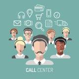 Vector el ejemplo del servicio de atención al cliente, iconos de los operadores de centro de atención telefónica con las auricula