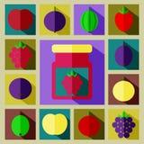 Vector el ejemplo del sistema de color de diferentes tipos de bayas Imagenes de archivo
