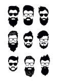 Vector el ejemplo del sistema de las caras barbudas de los hombres del vector, inconformistas con diversos cortes de pelo, bigote stock de ilustración