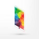 Vector el ejemplo del smartphone isométrico de la acuarela, pinturas del arco iris Teléfono elegante moderno stock de ilustración