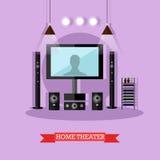 Vector el ejemplo del teatro casero, sistema audio-visual moderno Fotografía de archivo