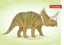 Vector el ejemplo del Triceratops de la familia de dinosaurios de cuernos grandes en el fondo verde Serie de dinosaurios prehistó Imagenes de archivo