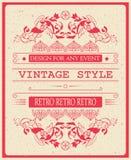 Vector el ejemplo del vector de la plantilla de la invitación del vintage para la celebración y otro con los elementos elegantes  Imagen de archivo