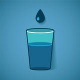 Vector el ejemplo del vidrio con agua y el descenso stock de ilustración