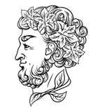 Vector el ejemplo dibujado mano con dios del vino libre illustration