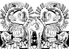 Vector el ejemplo dibujado mano con las muchachas de griterío, tentáculos, ilustración del vector
