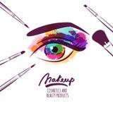 Vector el ejemplo dibujado mano de la acuarela del ojo para mujer colorido Foto de archivo libre de regalías