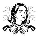 Vector el ejemplo dibujado mano de la muchacha bonita con los armas del th Libre Illustration