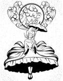 Vector el ejemplo dibujado mano de la mujer del vuelo en vestido con crioline y el paraguas stock de ilustración
