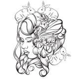 Vector el ejemplo dibujado mano de la señora joven con las flores y las alas Foto de archivo libre de regalías