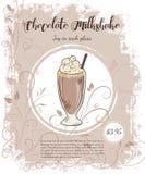 Vector el ejemplo dibujado mano de las páginas del menú de las bebidas con la taza de batido de leche del chocolate Foto de archivo libre de regalías